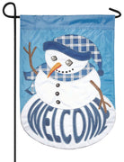 Welcome Plaid Snowman Double Applique Garden Flag
