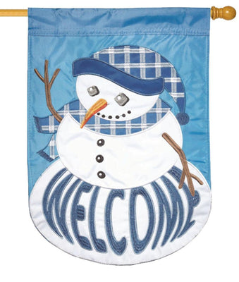 Welcome Plaid Snowman Double Applique House Flag