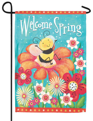 Welcome Spring Bee Garden Flag