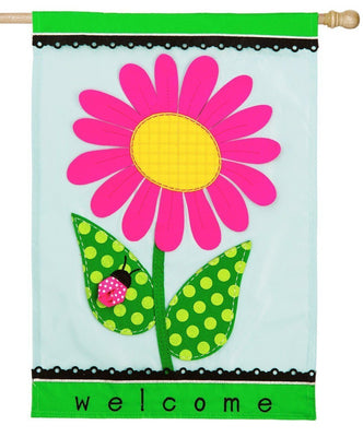 Welcome Spring Daisy Applique House Flag