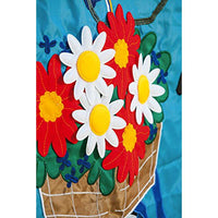 Welcome Summer Bicycle Applique Garden Flag Detail