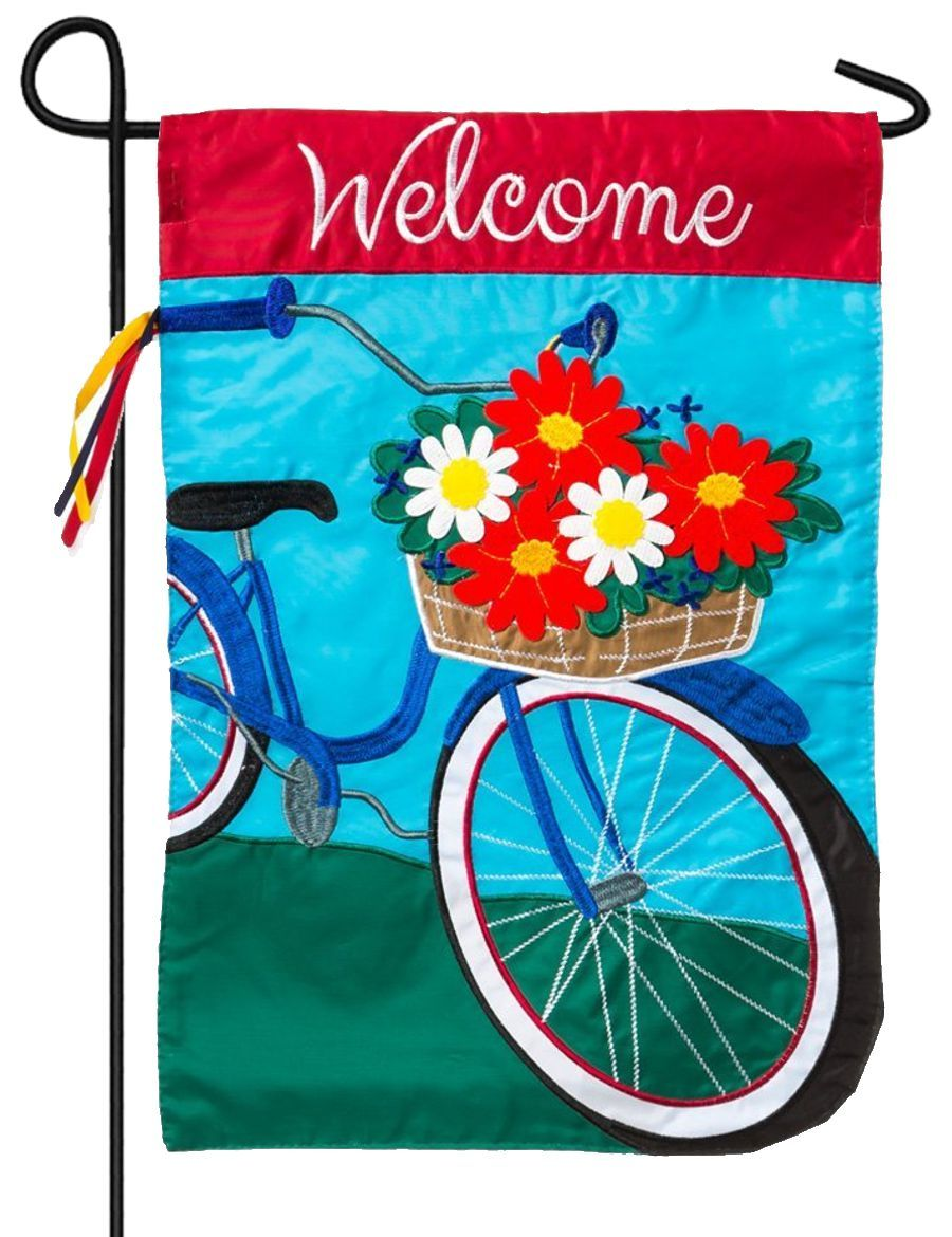 Welcome Summer Bicycle Applique Garden Flag