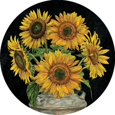 Welcome Sunflowers and Stripes Accent Magnet