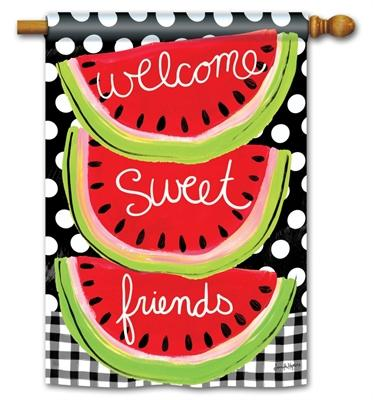 Welcome Sweet Friends Watermelon House Flag - I AmEricas Flags