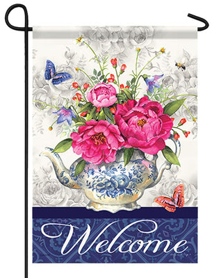 Welcome Teapot Vase Garden Flag