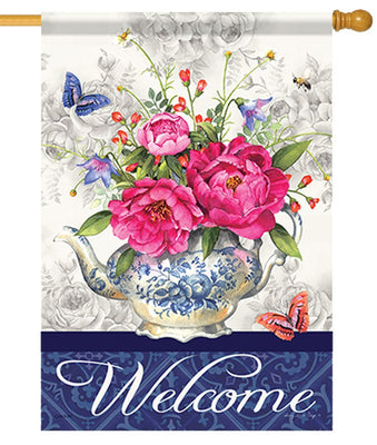 Welcome Teapot Vase House Flag