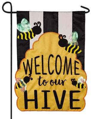 Welcome To Our Hive Applique Garden Flag