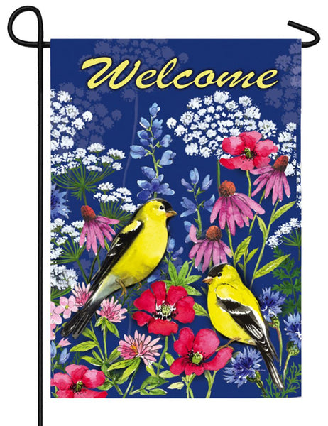 Welcome Wildflowers and Finches Suede Reflections Garden Flag