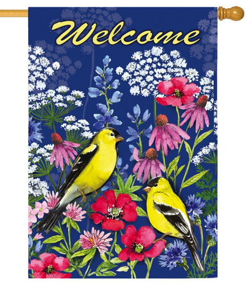 Welcome Wildflowers and Finches Suede Reflections House Flag