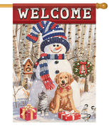 Welcome Winter Friends House Flag