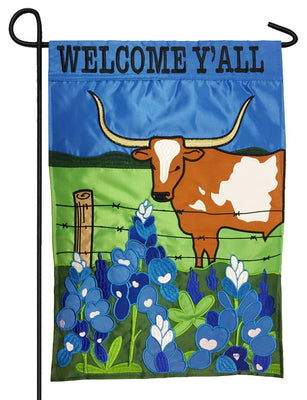Welcome Y'all Longhorn and Bluebonnets Double Applique Garden Flag