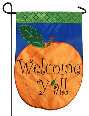 Welcome Y'all Peach Double Applique Garden Flag