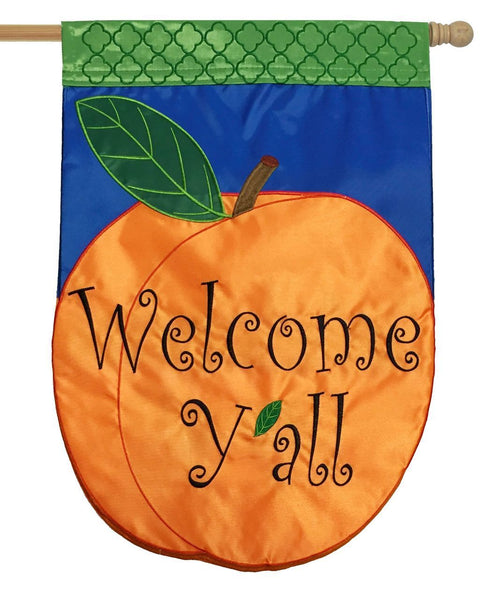 Welcome Y'all Peach Double Applique House Flag