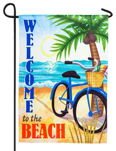 Welcome to the Beach Bicycle Suede Reflections Garden Flag