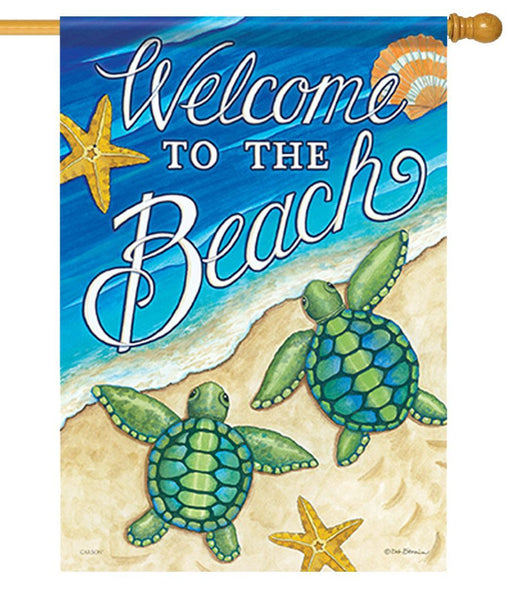 Welcome to the Beach Sea Turtle House Flag - I AmEricas Flags