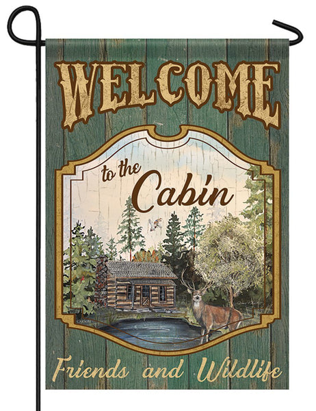 Welcome to the Cabin Garden Flag - All Decorative Flags/Themes/Camping Outdoor Lake Fishing Flags - I AmEricas Flags