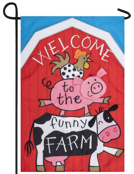 Welcome to the Funny Farm Double Applique Garden Flag - All Decorative Flags/Themes/Animal Flags/Farm Animal Flags - I AmEricas Flags