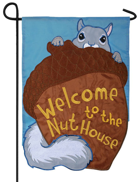 Welcome to the Nuthouse Double Applique Garden Flag