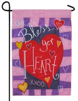Well Bless Your Heart Valentine Double Applique Garden Flag