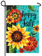 Whimsy Fall Flowers Garden Flag