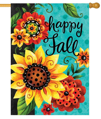 Whimsy Fall Flowers House Flag