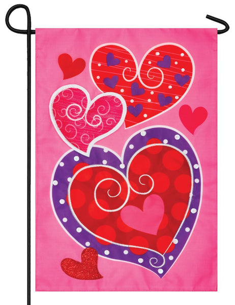 Whimsy Hearts Double Applique Garden Flag - All Decorative Flags/Holidays/Valentine's Day Flags - I AmEricas Flags