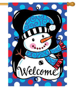 Whimsy Polka Dot Snowman House Flag