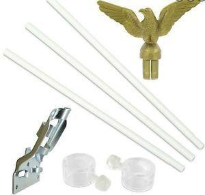 6ft White Three Piece Steel Flagpole Kit