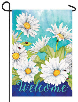 White Daisies and Ladybugs Garden Flag