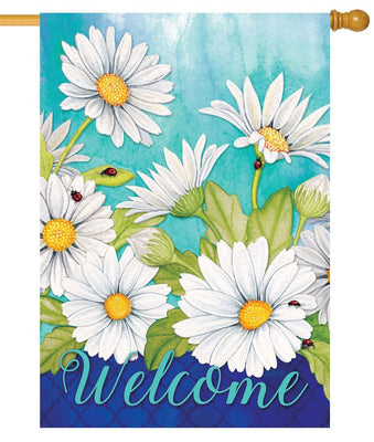White Daisies and Ladybugs House Flag