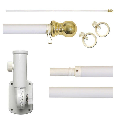 White 6ft Spinning Aluminum Flagpole Kit