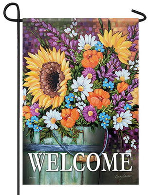 Wildflower Bucket Garden Flag