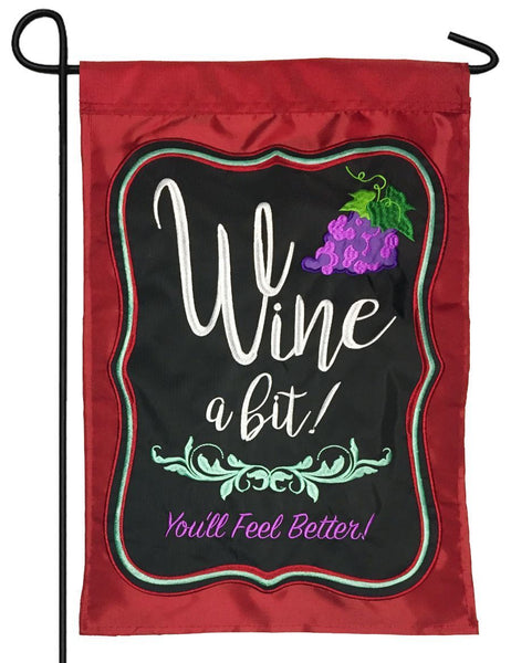 Wine a Bit Double Applique Garden Flag