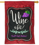 Wine a Bit Double Applique House Flag