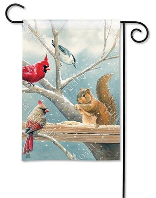Winter Cardinal Couple and Squirrel Garden Flag