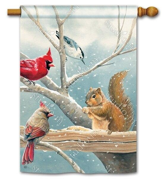 Winter Cardinal Couple and Squirrel House Flag - All Decorative Flags/Themes/Bird Flags/Cardinals - I AmEricas Flags