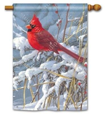Winter Cardinal House Flag - All Decorative Flags/Themes/Bird Flags/Cardinals - I AmEricas Flags