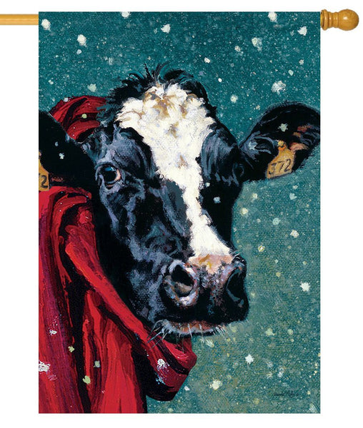 Winter Cow House Flag - All Decorative Flags/Seasons/Winter Flags - I AmEricas Flags