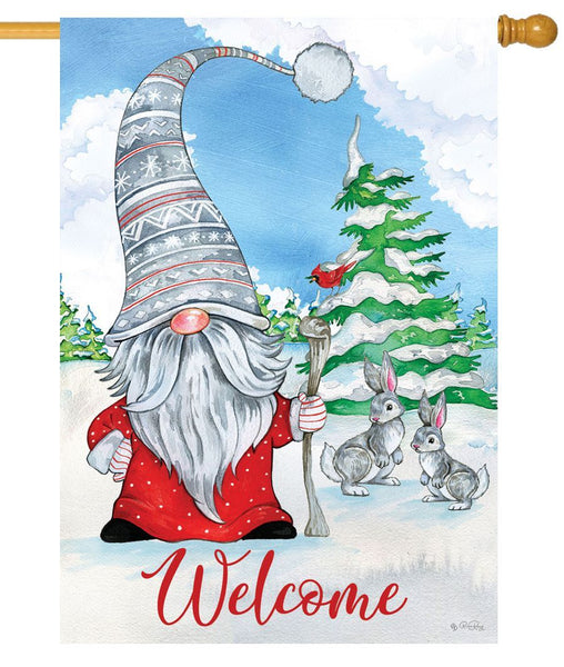 Winter Gnome Welcome House Flag - I AmEricas Flags