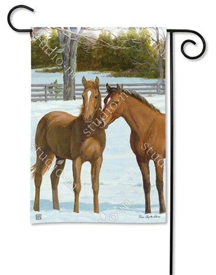 Winter Horse Couple Garden Flag