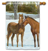 Winter Horse Couple House Flag