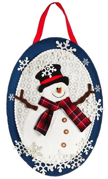 Winter Snowman Decorative Door Hanger - Door Hangers/Fall Christmas Winter Door Hangers - I AmEricas Flags