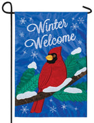 Welcome Winter Cardinal Double Applique Garden Flag