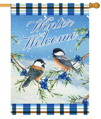 Winter Welcome Chickadees House Flag