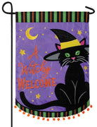 Witchy Black Cat Welcome Double Applique Garden Flag