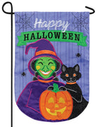 Witchy Halloween Double Applique Garden Flag