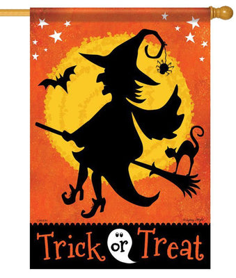 Witchy Trick or Treat House Flag