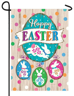Wooden Hoppy Easter Garden Flag