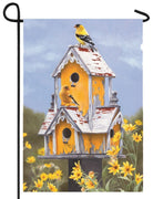 Yellow Birdhouse Garden Flag