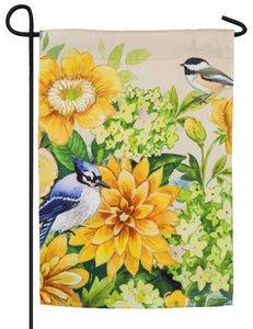 Yellow Flowers and Birds Suede Reflections Garden Flag